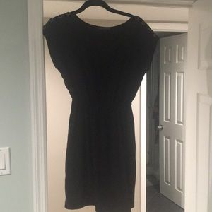 Black dress with buttoned sleeves